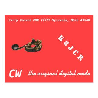 QSL Card - CW the Original digital Mode Postcard