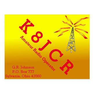 QSL Card Golden Gradient, tower, & lightning bolt Postcard