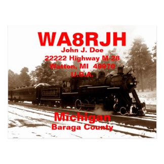 QSL Postcards HAM Radio Ops RR Snow Train Tracks