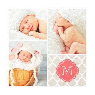 Quatrefoil Monogram Baby Photo Collage Nursery Art Gallery Wrap Canvas