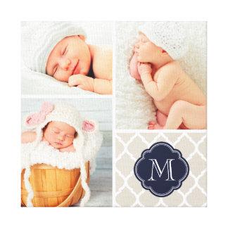 Quatrefoil Monogram Baby Photo Collage Nursery Art Stretched Canvas Print