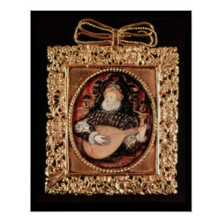 Queen Elizabeth I playing the lute Poster