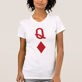 Queen of Diamonds Red Playing Card Tee Shirt