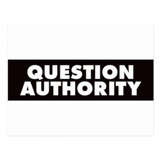 Question Authority - Black Postcard