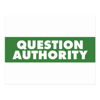 Question Authority - Green Postcard