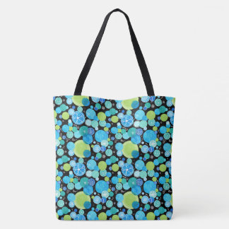 Quirky Turquoise Blue Neon Green Emerald on Black Tote Bag