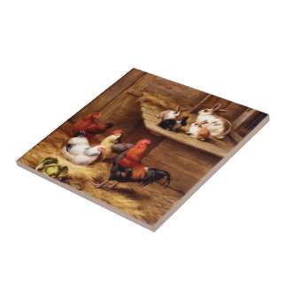 Rabbit Rooster hens Bunnies pet farm animals Small Square Tile