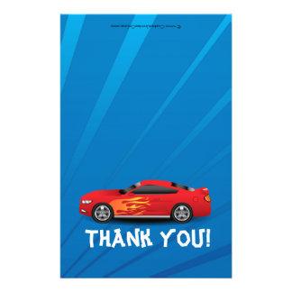 Race Car Flames Boy's Birthday Thank You Fold-Over 14 Cm X 21.5 Cm Flyer