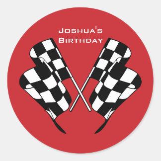 Race Cars Checkered Flag Envelope Seal Sticker