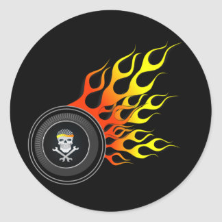Racing Skull in Flaming Wheel Round Sticker