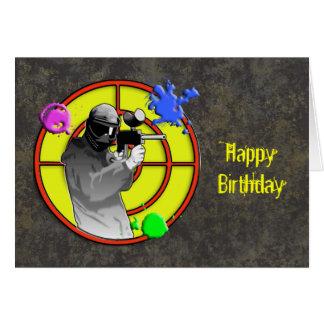 Radioactive Neon Paintball Shooter Greeting Card