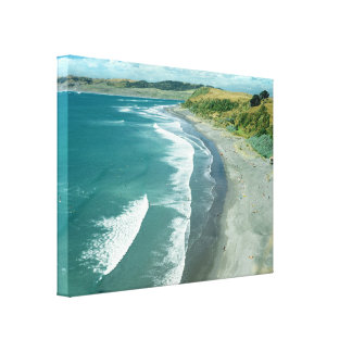 Raglan beach, New Zealand by Bruce Stanfield Gallery Wrapped Canvas