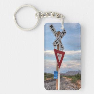 Railroad Crossing Double-Sided Rectangular Acrylic Key Ring