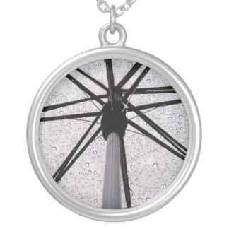 Rain Rain Go Away Round Pendant Necklace