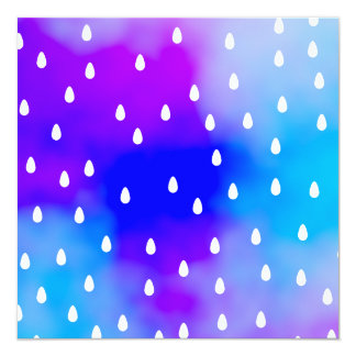 Rain with blue and purple cloudy sky. 13 cm x 13 cm square invitation card