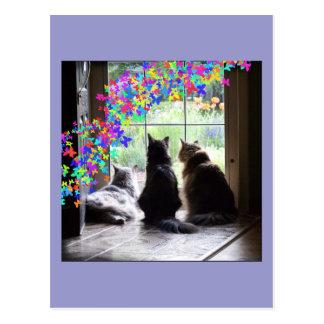Rainbow Bridge cat condolence postcard