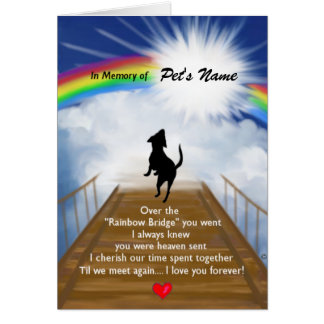 Rainbow Bridge Memorial Poem for Dogs Note Card