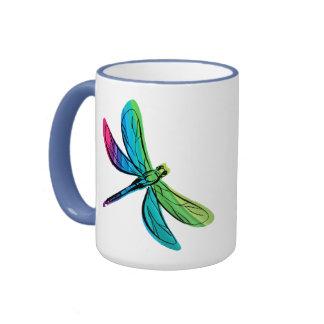 Rainbow Dragonfly Ringer Mug