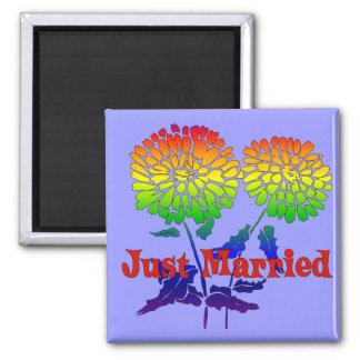 Rainbow Flower Marriage Square Magnet