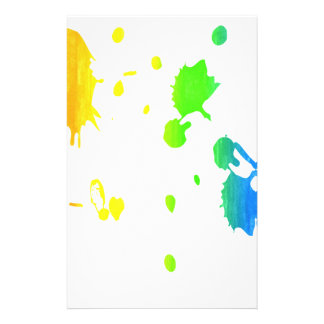Rainbow paint-splatter personalized stationery