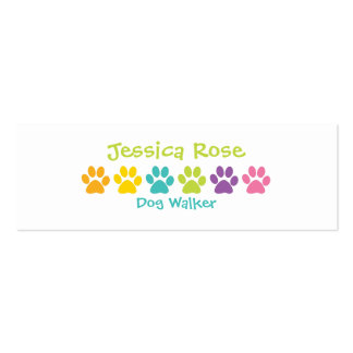 Rainbow Paw Print Dog Walker Pack Of Skinny Business Cards