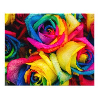 Rainbow Roses Rose blossoms romantic peace joy 11.5 Cm X 14 Cm Flyer