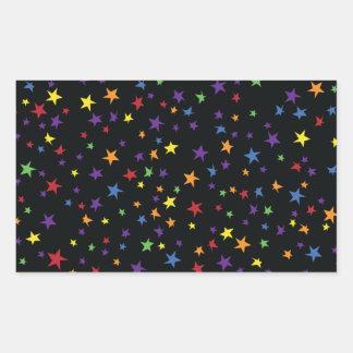 Rainbow Scattered Stars Rectangular Sticker