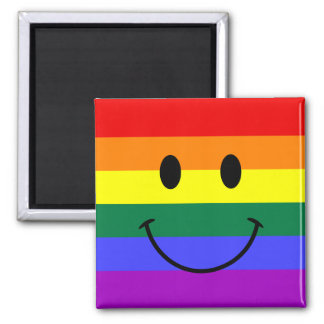 Rainbow Smiley Face Square Magnet