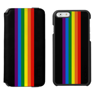 Rainbow Stripes on Black Gay Pride LGBT Support Incipio Watson™ iPhone 6 Wallet Case