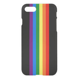 Rainbow Stripes on Black Gay Pride LGBT Support iPhone 7 Case