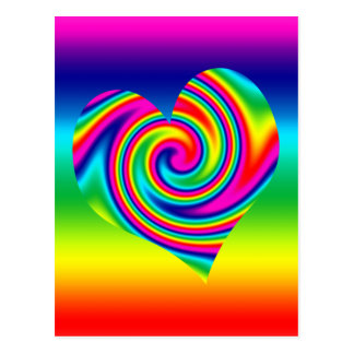 Rainbow Twirl Heart Postcard
