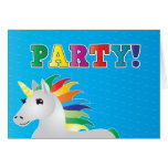 Rainbow unicorn party invite on blue PARTY Greeting Card