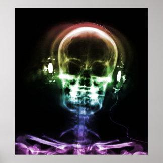 Rainbow X-Ray Music Headphones Skeleton Poster