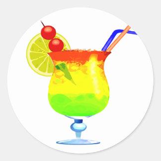 Rainbows Tropical Drink Round Sticker