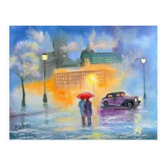 Rainy day red umbrella romantic couple walk postcard
