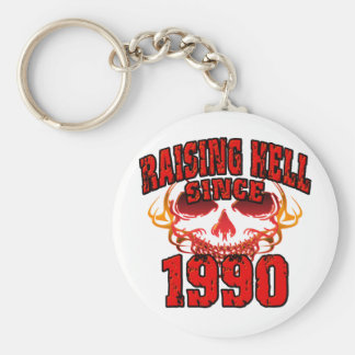 Raising Hell since 1990.png Basic Round Button Key Ring
