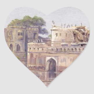 Rajput Forts by Marianne North Heart Sticker