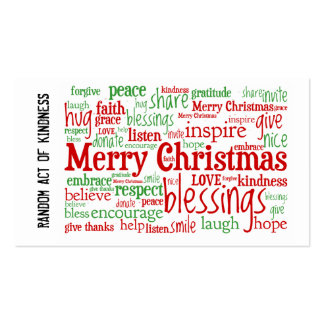 Random Act of Kindness Christmas Cards Pack Of Standard Business Cards