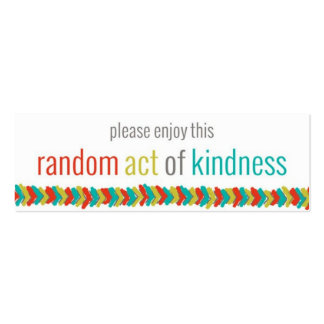 Random Acts of Kindness Challenge Card II Pack Of Skinny Business Cards