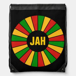 RASTAFARI FLAG BUTTON RAYS + your sign or monogram Drawstring Backpack