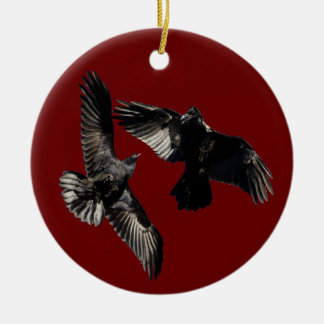 raven dance round ceramic decoration