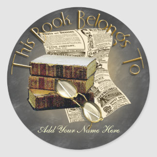 Reading Design Bookplate Round Stickers