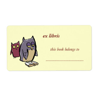 reading owls customizable exlibris shipping label