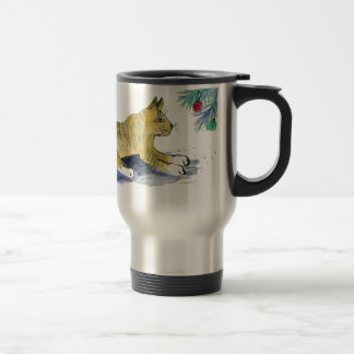Ready to Pounce, Tiger Cat and Ornaments Stainless Steel Travel Mug