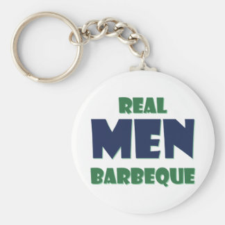 Real Men Barbeque Basic Round Button Key Ring