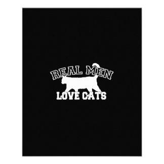 Real Men Love Cats Graphic Design on Black Decor 11.5 Cm X 14 Cm Flyer
