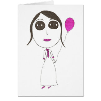 Really Big Head Girl Greeting Card