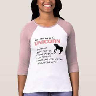 Reasons to be a unicorn t-shirts