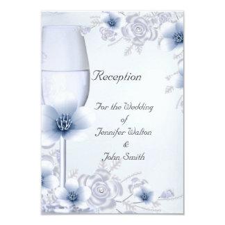 Reception Card Wedding Silver Blue Rose Blossom 9 Cm X 13 Cm Invitation Card