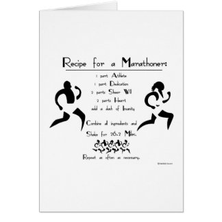 Recipe For a Marathoner Good Luck Greeting Card
